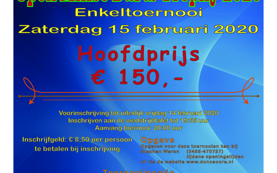 zaterdag 15 feb Open Milse Darts Trophy